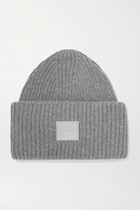 Acne Studios Pansy Face Appliqued Ribbed Wool Beanie - Dark gray