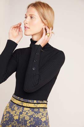 Anthropologie Button-Sleeve Turtleneck Sweater