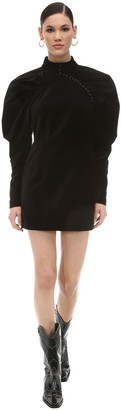 Rotate by Birger Christensen Puffed Sleeves Velvet Mini Dress