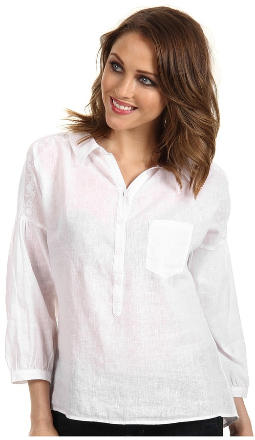 C&C California PD Woven Linen Cotton 3/4 Sleeve Embroidered Henley (White) - Apparel