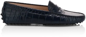 Tod's Gommino Croc-Embossed Leather Driving Loafers