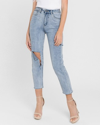 Express English Factory High Waisted Distressed Straight Jeans