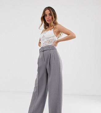 Asos DESIGN Petite belted wide leg pants in pinstripe