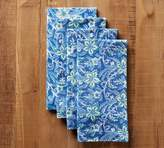 Pottery Barn Block Print Climbing Floral Napkin, Set of 4 - Blue