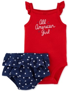 Carter's Baby Girls 2-Pc. Red, White & Blue Cotton Bodysuit & Ruffled Shorts Set