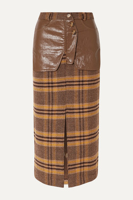 REJINA PYO Maggie Checked Wool And Faux Leather Midi Skirt - Brown
