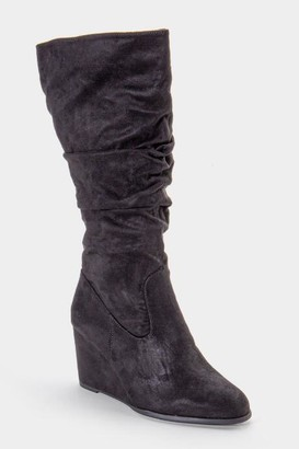 Lust 4 Life L4L Jewel Scrunched High Shaft Wedge Boot - Black