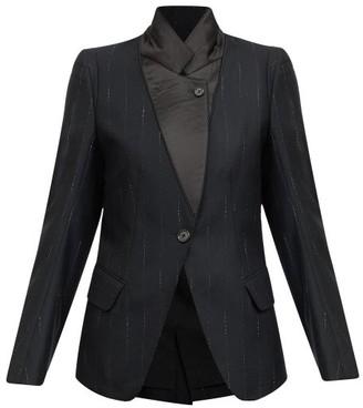 Ann Demeulemeester Button-lapel Pinstriped Wool-twill Suit Jacket - Black Stripe