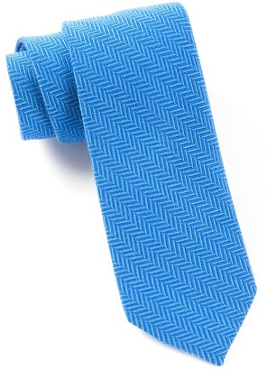 Tie Bar Wool Herringbone Royal Blue Tie