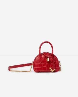 The Kooples Red crocodile-print nano bag Irina