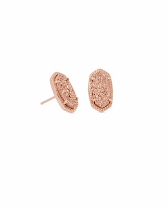 Kendra Scott Ellie Stud Earrings for Women Fashion Jewelry Rose Gold-Plated Rose Gold-Plated Drusy