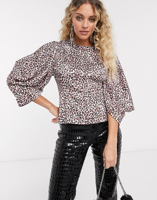 Topshop WATERCOLOR blouse in pink leopard print