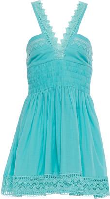 Charo Ruiz Ibiza Laila Crocheted Lace-trimmed Cotton-blend Gauze Mini Dress