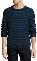 Vince Reverse-Stripe Crewneck Sweater, Navy