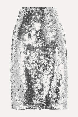 Alice + Olivia Ramos Sequined Tulle Skirt - Silver