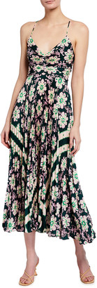 A.L.C. Gemini Pleated Printed Midi Dress