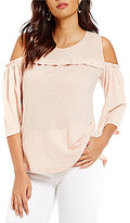 Gibson & Latimer Cold Shoulder Bell Sleeve Ruffle Knit Top