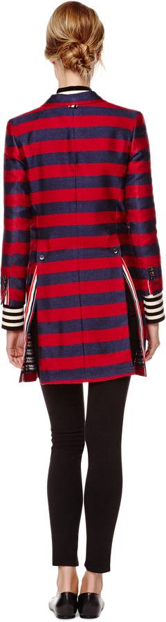 Thom Browne Striped Silk-Blend Chesterfield Coat