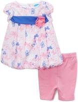 Bon Bebe Pink Butterfly Print Bubble Dress & Capri Pants