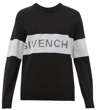 Givenchy Logo Intarsia Wool Sweater - Mens - White Black