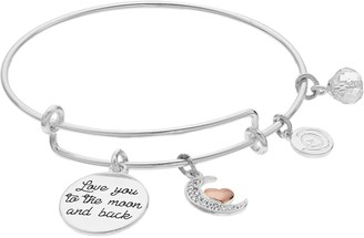 """Love This Life """"Love You to the Moon and Back"""" Enamel Heart Bangle Bracelet"""