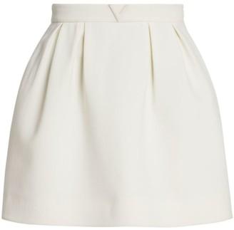 Valentino Pleated Wool-Blend Mini Skirt