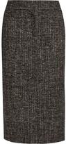 Tom Ford Zip-embellished Wool-blend Tweed Pencil Skirt - Dark brown