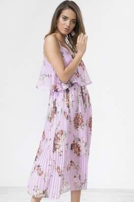 Urban Touch Lilac Floral Print Pleated Cami Midi Dress