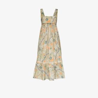 Chloé Floral Tiered Midi Dress