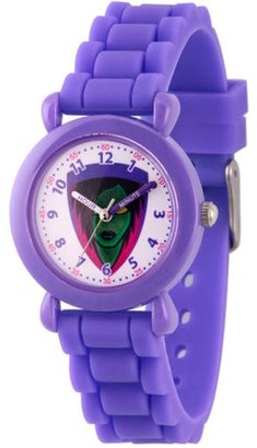 Marvel Guardians of the Galaxy Evergreen Gamora Girls' Purple Plastic Time Teacher Watch, Purple Silicone Strap