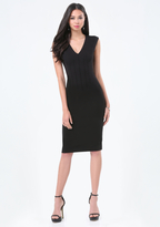 Bebe Pintuck Waist Midi Dress