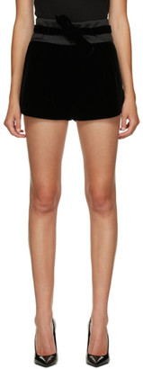Saint Laurent Black Velvet Tied Shorts