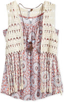 Beautees 2-Pc. Crochet Vest & Geo-Print Tank, Big Girls (7-16)
