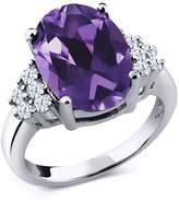 Gem Stone King 5.00 Ct Oval Purple Amethyst White Topaz 18K White Gold Ring