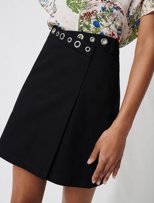 Maje Wrap mini skirt with eyelets