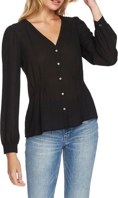 1 STATE Cinched Waist Button Front Blouse