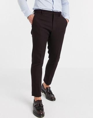 ASOS DESIGN wedding skinny suit pants in wool look in burgundy