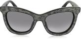Jimmy Choo FLASH/S IBWEU Black & Grey Glitter Cat Eye Sunglasses
