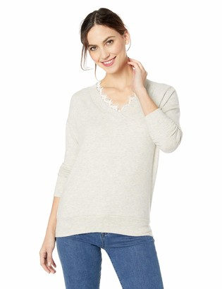 Three Dots Women's QQ2792 Brushed Sweater Tunic W/LACE