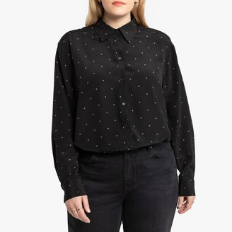 La Redoute Collections Plus Polka Dot Boyfriend Shirt with Long Sleeves