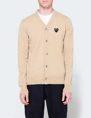 Comme des Garcons Men's Play Cardigan Sweater in Beige, Size Medium | Wool