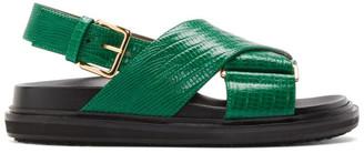 Marni Green Snake Fussbett Sandals