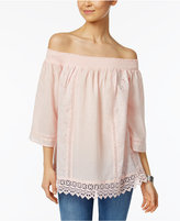 Style&Co. Style & Co Off-The-Shoulder Lace Peasant Top, Only at Macy's