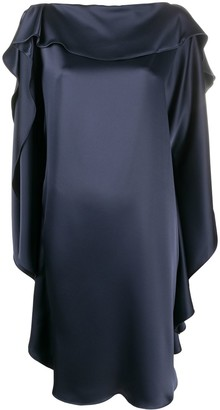 Gianluca Capannolo Ruffle-Sleeve Silk Satin Dress