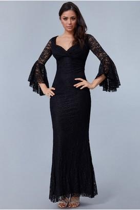 Goddiva Black Frill Sleeve Maxi Dress