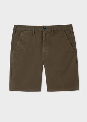 Paul Smith Men's Dark Green Garment-Dyed Stretch Shorts
