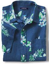 Lands' End Men's Traditional Fit Short Sleeve Linen Pattern Shirt-Tan Pebble