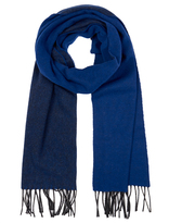 Johnstons of Elgin Blue and Grey Mock Reversible Merino Wool and Cashmere-Blend Scarf