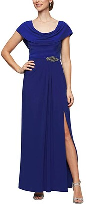 Alex Evenings Long Cowl Neck A-Line Dress with Beaded Detail at Waist (Dark Royal) Women's Dress