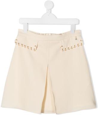 Elisabetta Franchi La Mia Bambina TEEN pleat detail A-line skirt